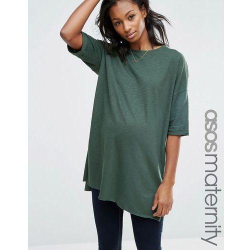 ASOS Maternity Longline T-Shirt with Side Split in Textured Jersey - Green - sprawdź w wybranym sklepie