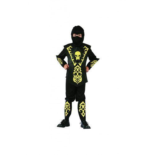 Kostium Ninja żółty z czaszką - L - 130/140 cm, kolor żółty