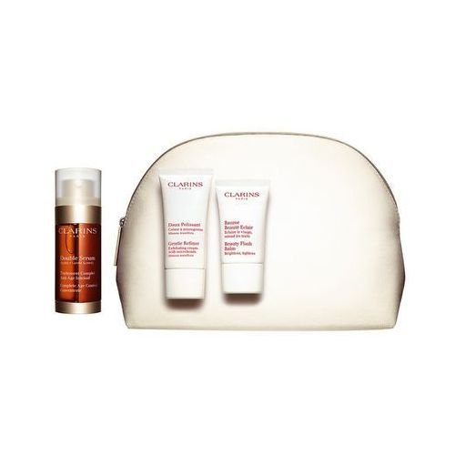 Double serum 30ml + gentle refiner exfoliating cream 30ml + beauty flash balm 15ml marki Clarins