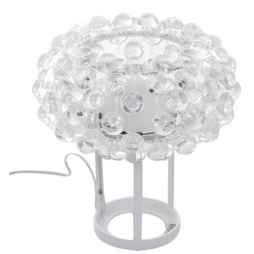 Biurkowa LAMPKA stojąca LORNA MTE2021/1 Italux stołowa LAMPA gabinetowa z kryształkami crystal biała przezroczysta