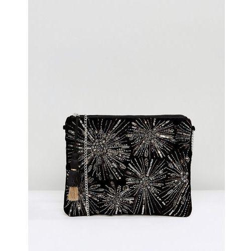 New Look Firework Embroidery Clutch - Black, kolor czarny