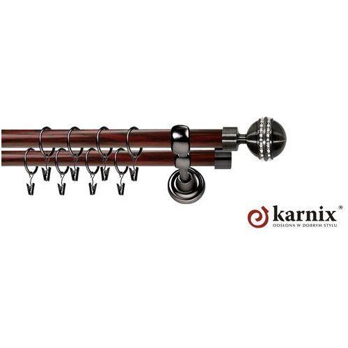 Karnix Karnisz metalowy prestige podwójny 25/19mm melba crystal antracyt - mahoń