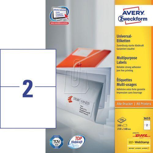 Avery zweckform Etykiety uniwersalne trwałe a4 210 x 148mm 100 arkuszy  3655