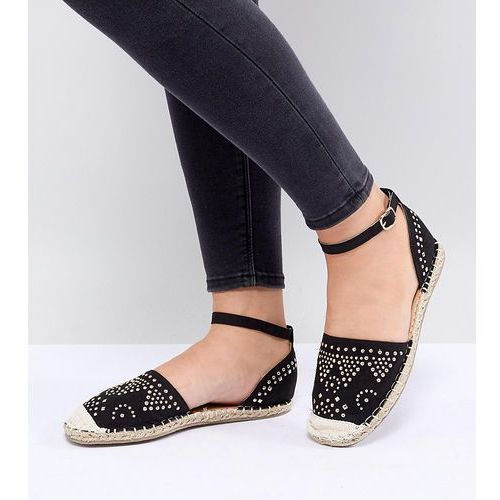 wide fit stud trim espadrille - black, Truffle collection