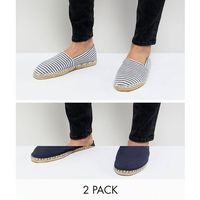 Asos design wide fit canvas espadrilles in navy and blue stripe 2 pack save - navy