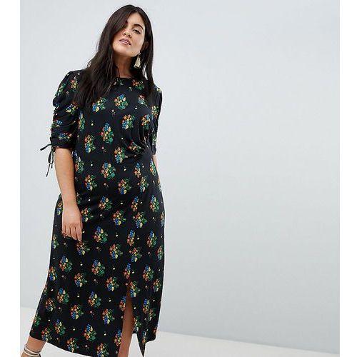 ASOS DESIGN Curve city maxi tea dress with split in black floral - Multi, kolor czarny