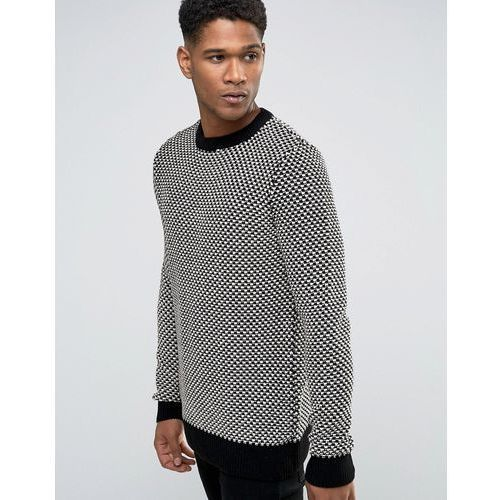 New look  textured jumper with crew neck in black and white - black
