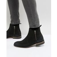 chelsea boots in black suede with natural sole - black, Asos