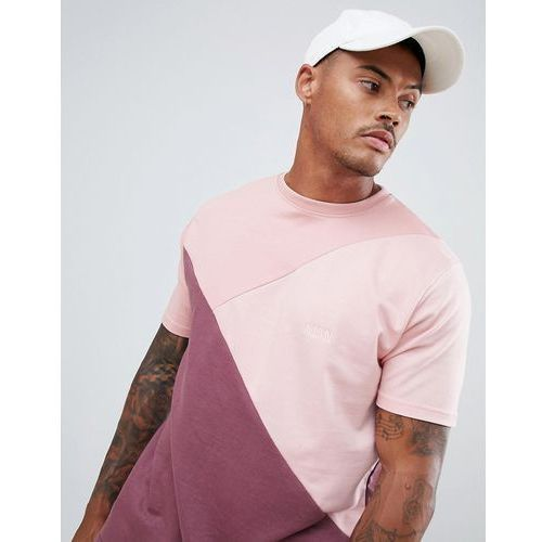 Boohooman drop shoulder t-shirt in tonal pink colour block - pink