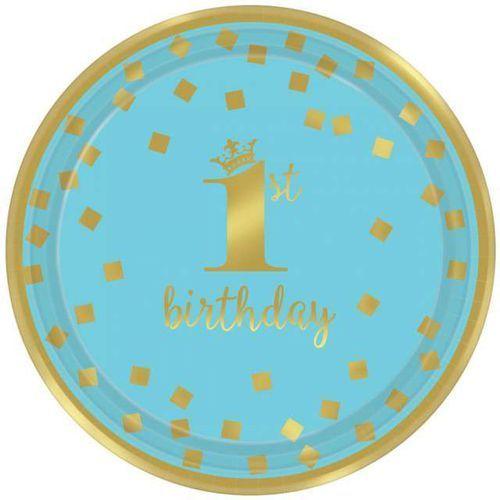 """Amscan Talerzyki papierowe """"1st birthday - urodziny"""", niebieskie, , 18 cm, 8 szt"""