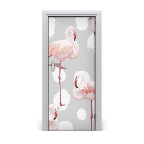 Naklejka samoprzylepna na drzwi Flamingi i kropki