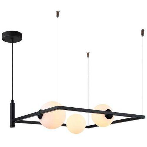 LAMPA wisząca GARETH MDM-3975/3 BK Italux metalowa OPRAWA ramka ZWIS szklane kule balls czarna (1000000519877)