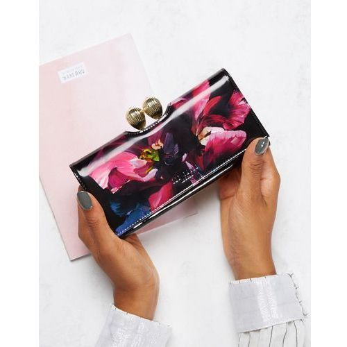 Ted baker  purse with pearl crystal bobble in bloom print - black