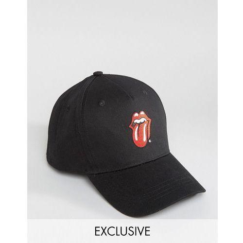 Reclaimed vintage  inspired baseball cap in black with rolling stones logo - black
