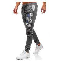 Spodnie męskie dresowe joggery grafitowe Denley KK525, kolor niebieski