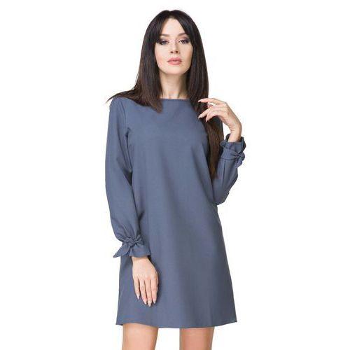 Niebieska sukienka wizytowa z wiązaniami, Tessita, 36-46