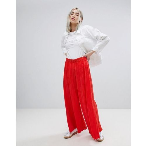 pleat wide leg trousers - red, Weekday, 36-38
