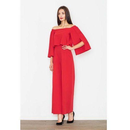 Czerwony Elegancki Kombinezon 2w1 z Odkrytymi Ramionami, kolor czerwony