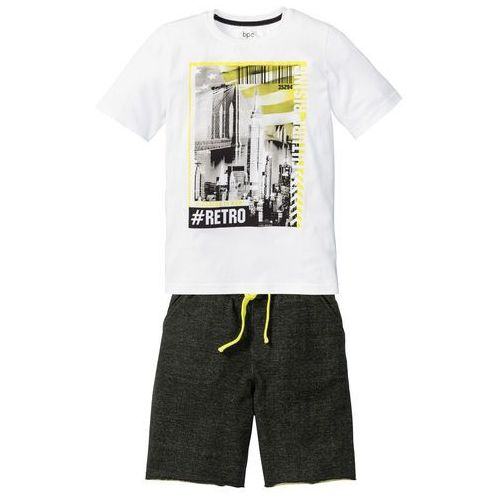 Shirt + bermudy dresowe (2 części) biało-czarny z nadrukiem marki Bonprix