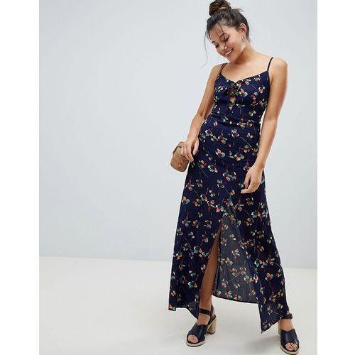 poppy maxi dress with front split - navy, Brave soul, 36-38