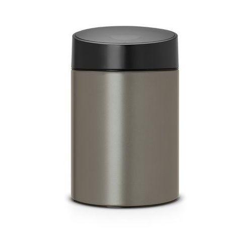 Brabantia - Kosz Slide Bin - pokrywa plastikowa – 5L - platynowy / pokrywa czarna