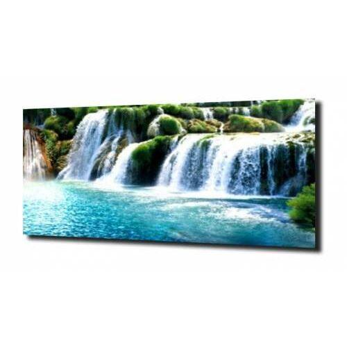 obraz na szkle Wodospad otoczony zielenią, A810