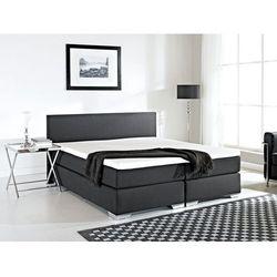 Beliani Łóżko kontynentalne 160x200 cm - łóżko tapicerowane - president czarne, kategoria: łóżka