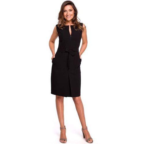 Czarna ołówkowa sukienka bez rękawów z kontrafałdą, Moe, 36-44