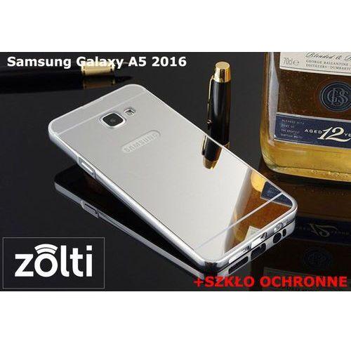 Zestaw   Mirror Bumper Metal Case Srebrny + Szkło ochronne Perfect Glass   Etui dla Samsung Galaxy A5 2016, kolor szary