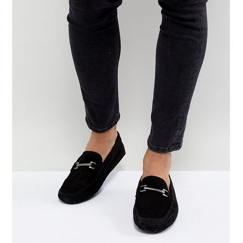 design wide fit driving shoes in black suede with snaffle - black, Asos