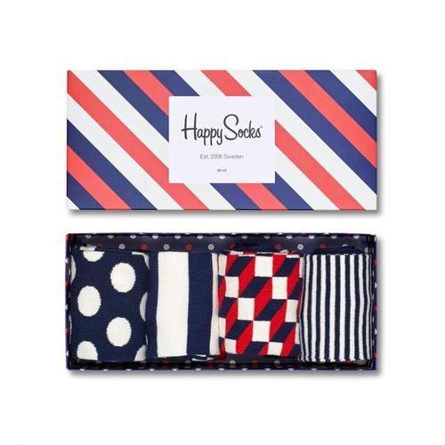 giftbox (4-pary) xbdo09-6000 - kolorowe skarpetki - biały   granatowy   czerwony marki Happy socks