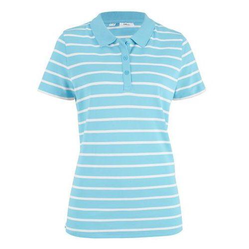 Bonprix Shirt polo w paski, krótki rękaw niebieski topaz - biały w paski