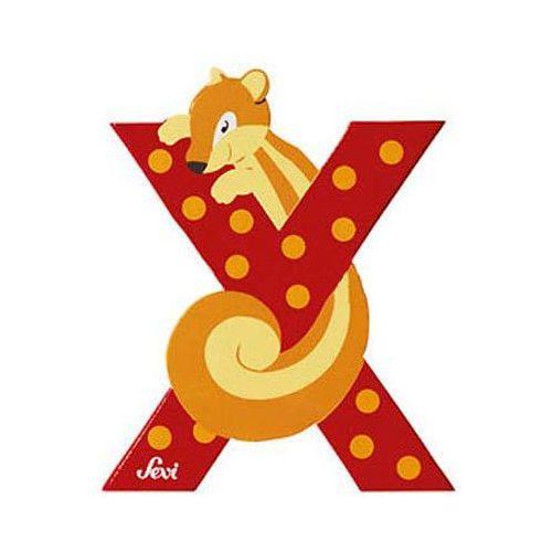 Drewniana literka X, zwierzęta