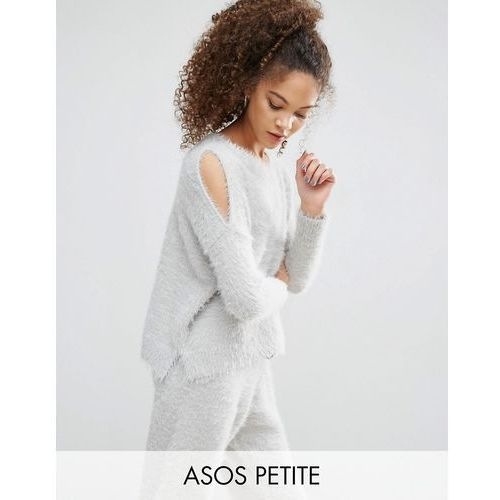 ASOS PETITE LOUNGE Jumper With Cold Shoulder In Fluffy Yarn Co ord - Grey