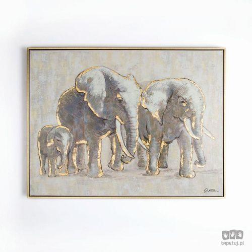 Graham&brown Obraz ręcznie malowany - rodzina słoni 102415