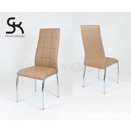 ks025 brązowe krzesło z ekoskóry na chromowanym stelażu - brązowy marki Sk design