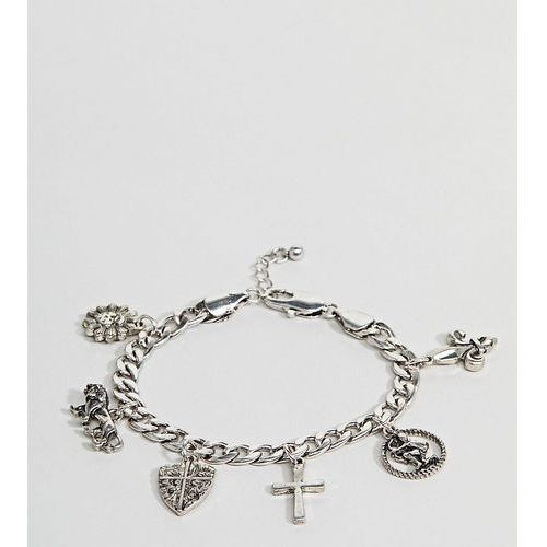 Reclaimed Vintage Inspired Silver Charm Bracelet Exclusive To ASOS - Silver, kolor szary