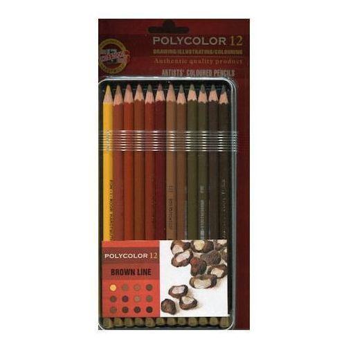 Kredki ołówkowe Kredki koh-i-noor polycolor 12 kol brown line x1