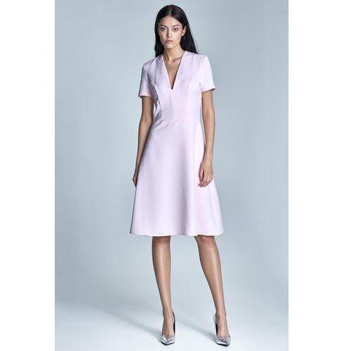 Elegancka Różowa Sukienka Midi z Głębokim Dekoltem w Szpic, NS71pi