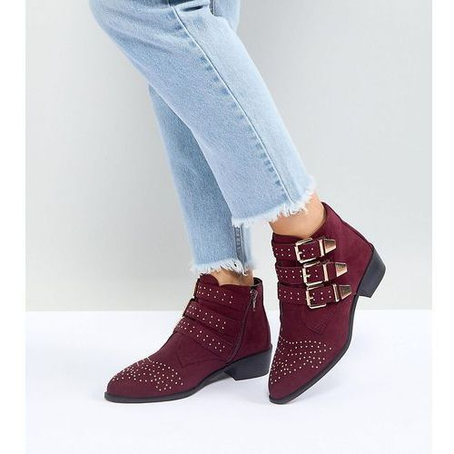 wide fit studded western flat ankle boot - red, New look