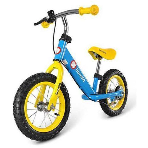OKAZJA - Rowerek biegowy dex niebieski hamulec + kask + ochraniacze + puzzle marki Lionelo