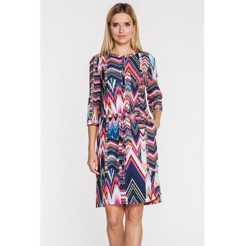 Wzorzysta sukienka z rękawem 3/4 - Potis & Verso, kolor wielokolorowy