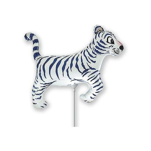 Balon foliowy do patyka - Biały Tygrys - 37 cm - 1 szt.