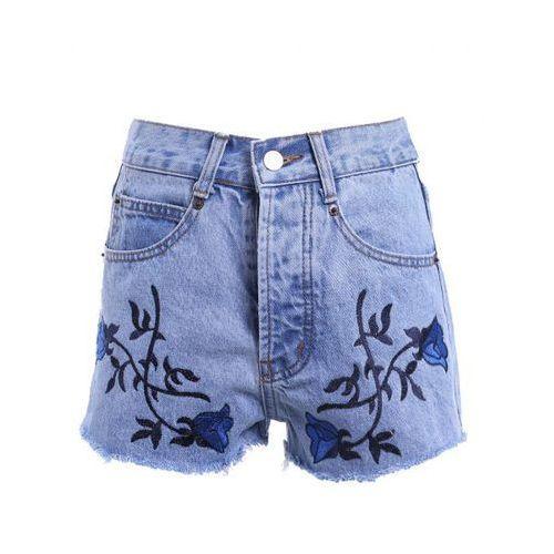 Vintage Style High Waist Raw Edged Floral Embellished Denim Shorts For Women, kup u jednego z partnerów