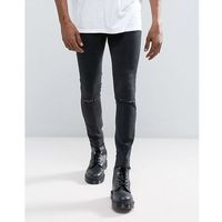 Mennace Muscle Fit Jean With Rips and Raw Hem In Black - Black
