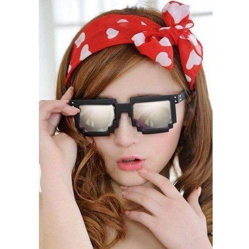 Pikselowe okulary 8 bit pixel - czarne/lustrzane (5902610390821)