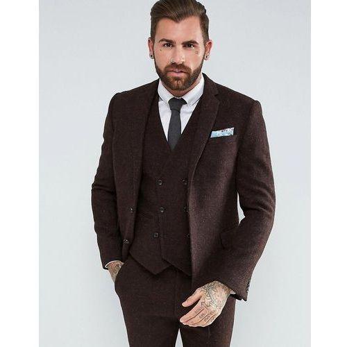 ASOS Slim Suit Jacket in 100% Wool Harris Tweed Herringbone In Brown - Brown, wełna