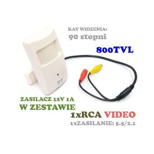 Dyskretna mikro-kamera przewodowa kolorowa (800tvl), ukryta w czujce ruchu + zasilacz. marki Jmk