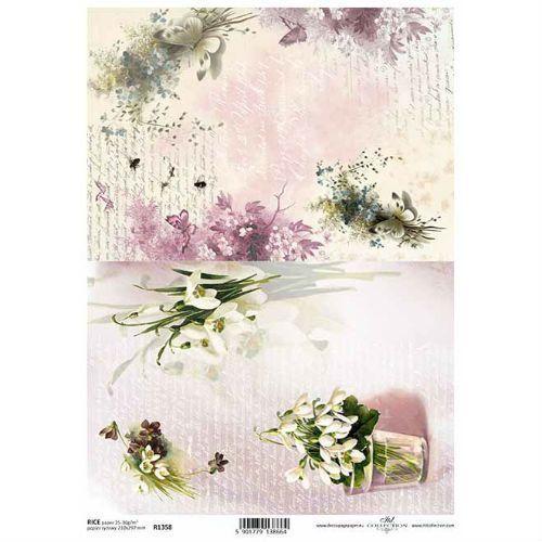 Papier ryżowy ozdobny 297x210 mm - delikatne kwiaty marki Itdcollection
