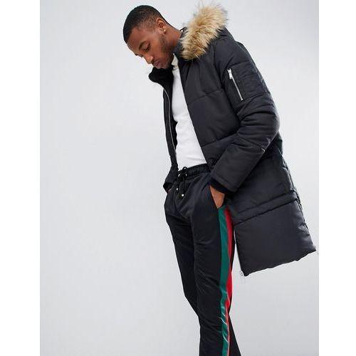 longline puffer jacket with faux fur hood in black - black, Boohooman, S-XL